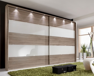Wiemann Sunset Oak Sliding Wardrobe with Line 2-4 in White Glass - W 300cm