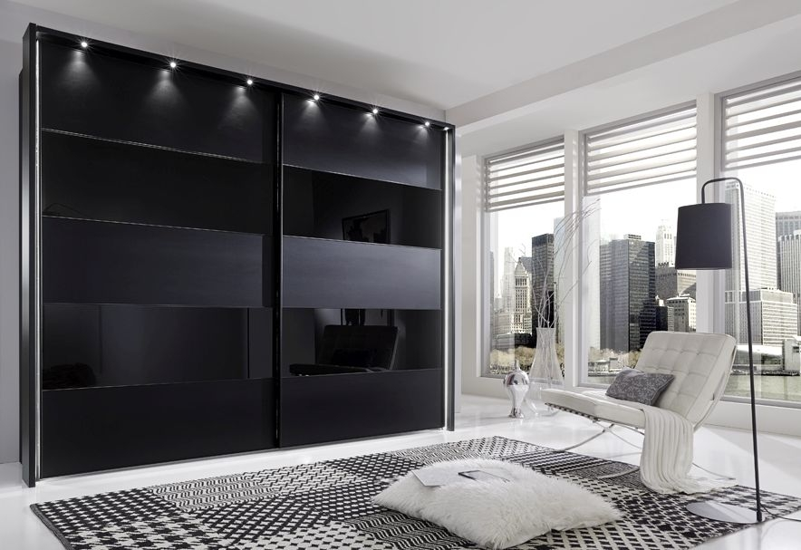 Wiemann Sunset 2 Door Sliding Wardrobe with LED Passepartout in Black Glass Line 2 - 4 and Havana - W 200cm