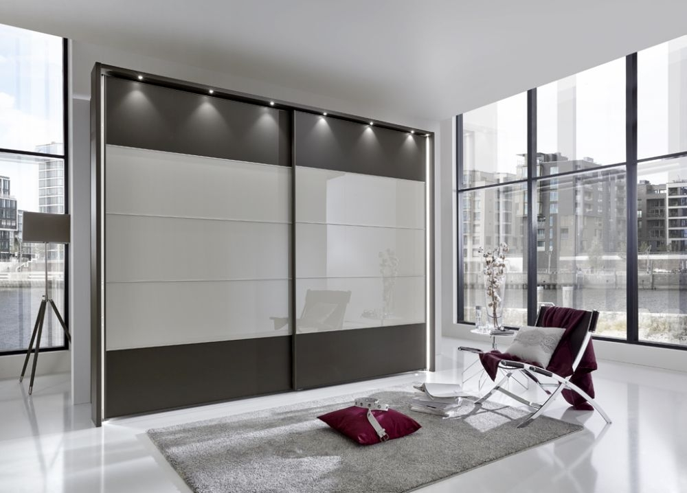 Wiemann Sunset 2 Door Sliding Wardrobe with LED Passepartout in Champagne Glass Line 2 - 3 - 4 and Havana - W 300cm