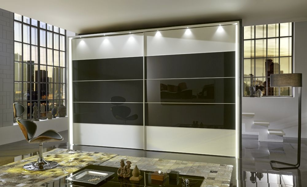 Wiemann Sunset 2 Door Sliding Wardrobe with LED Passepartout in Graphite Glass Line 2 - 3 - 4 and White - W 300cm
