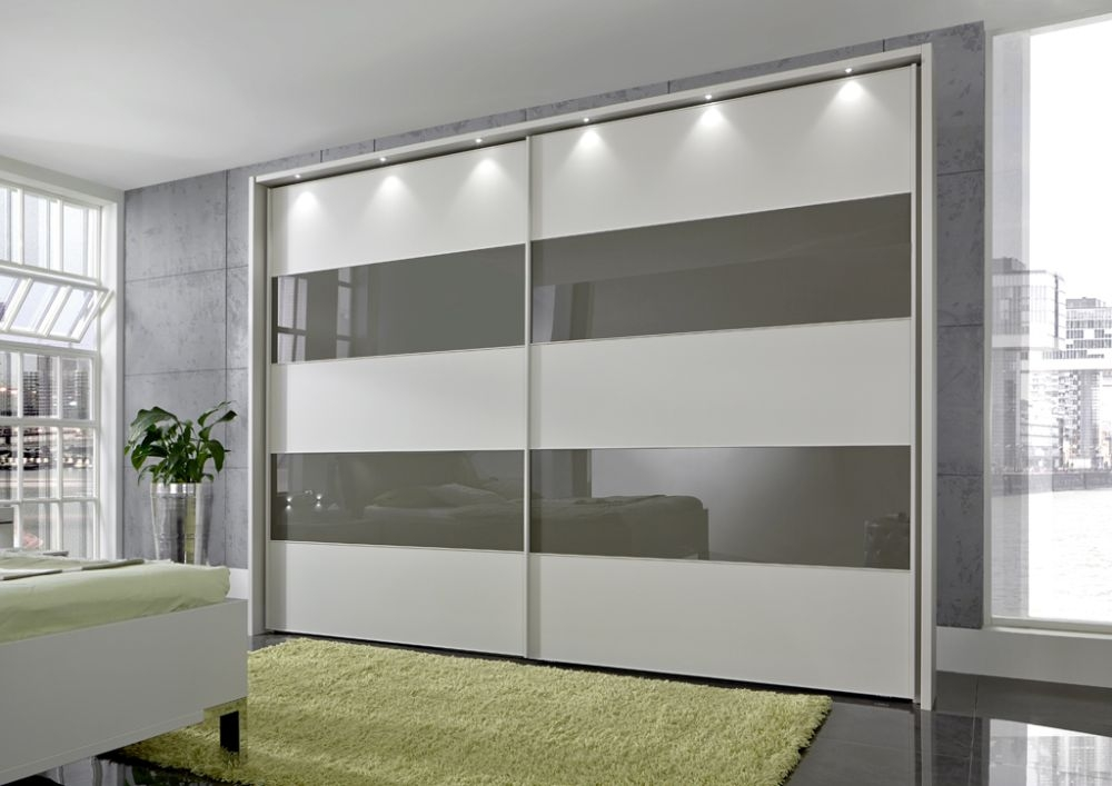 Wiemann Sunset 2 Door Sliding Wardrobe with LED Passepartout in Havana Glass Line 2 - 4 and Champagne - W 250cm