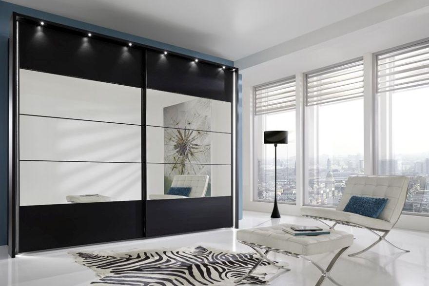 Wiemann Sunset 2 Door Sliding Wardrobe with LED Passepartout in Mirror Line 2 - 3 - 4 and Black - W 200cm