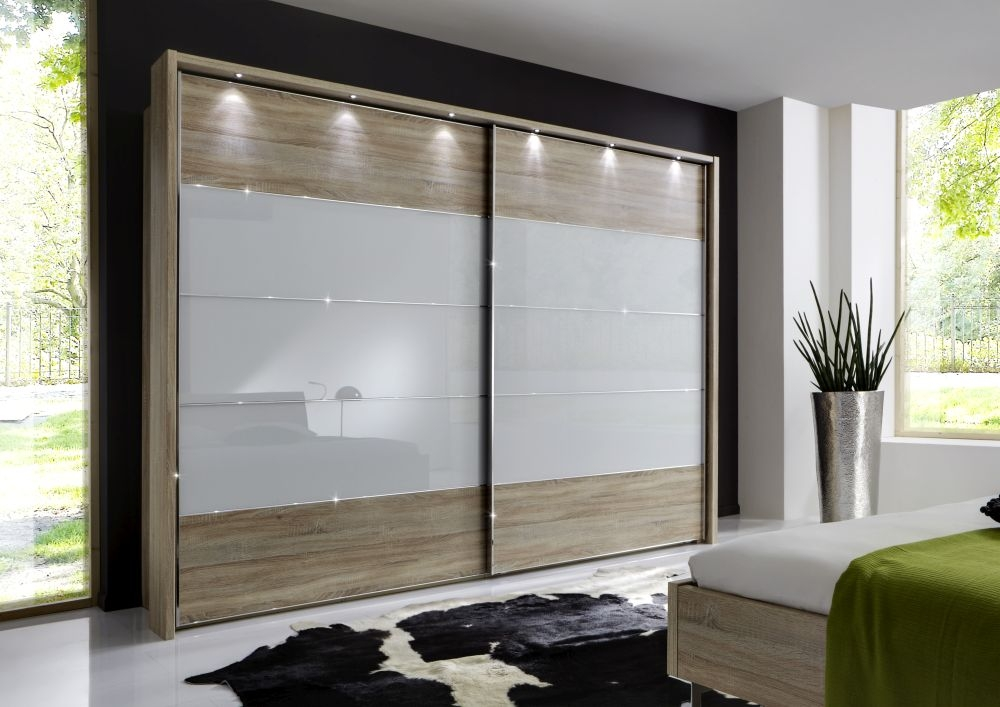 Wiemann Sunset 2 Door Sliding Wardrobe with LED Passepartout in White Glass Line 2 - 3 - 4 and Rustic Oak - W 300cm