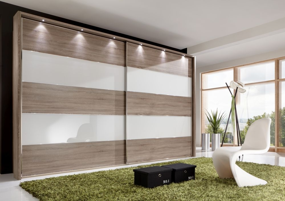 Wiemann Sunset 2 Door Sliding Wardrobe with LED Passepartout in White Glass Line 2 - 4 and Rustic Oak - W 200cm