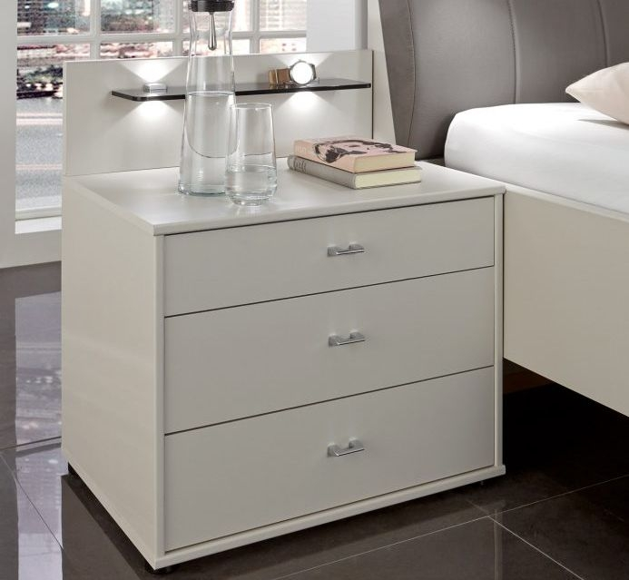 Wiemann Sunset 3 Drawer Wide Bedside Cabinet in Champagne
