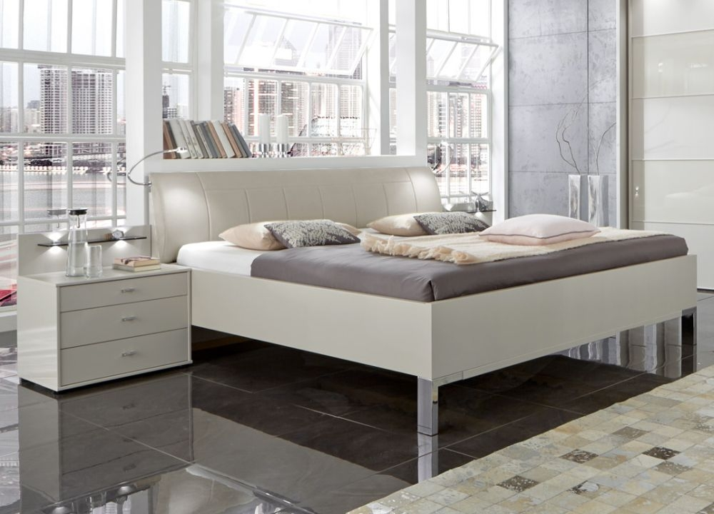 Wiemann Sunset 6ft Queen Size Leather Cushion 43cm Footboard Height Bed in Champagne - 180cm x 200cm