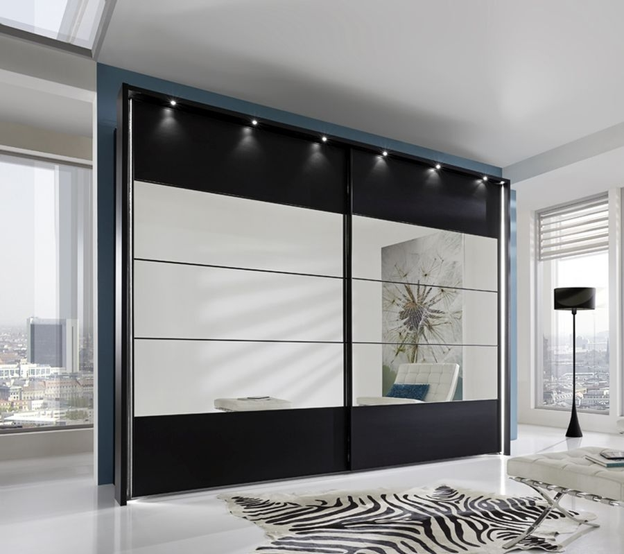 Wiemann Sunset Black Sliding Wardrobe with Line 2-3-4 in Mirror - W 300cm