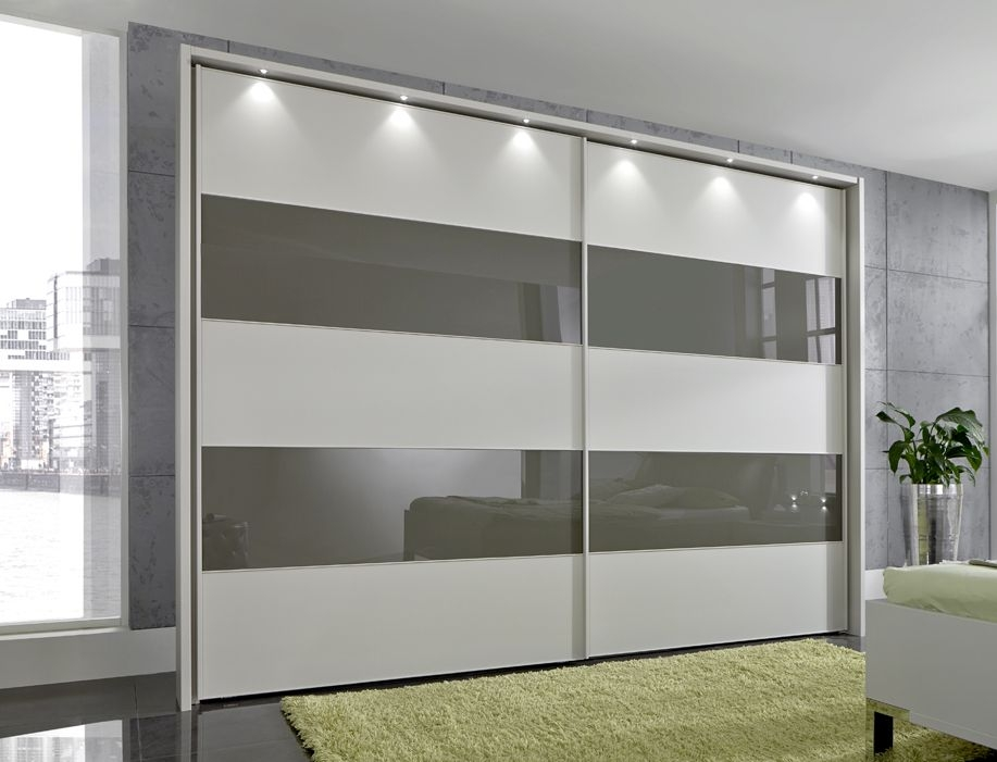Wiemann Sunset Champagne Sliding Wardrobe with Line 2-4 in Havana Glass - W 300cm