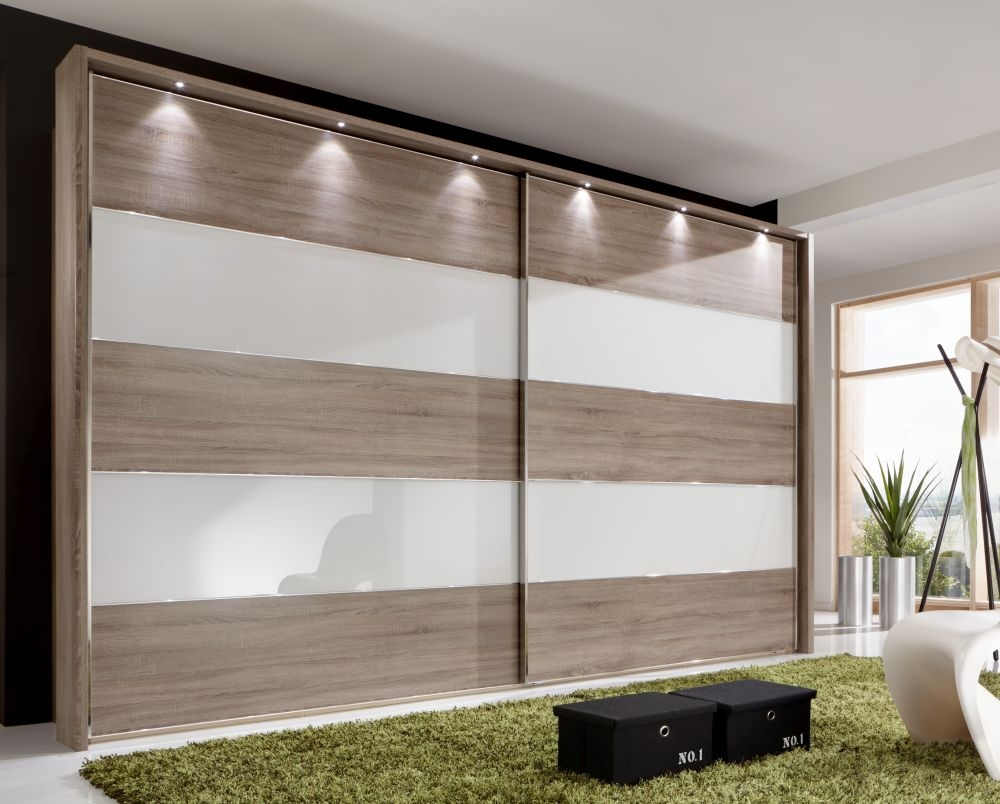 Wiemann Sunset Oak Sliding Wardrobe with Line 2-4 in White Glass - W 300cm