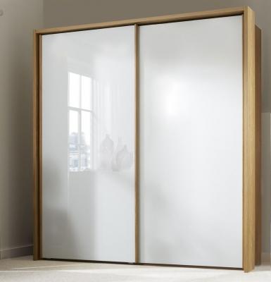 Wiemann Sydney 3 Door Sliding Wardrobe in Oak and White Glass - W 260cm