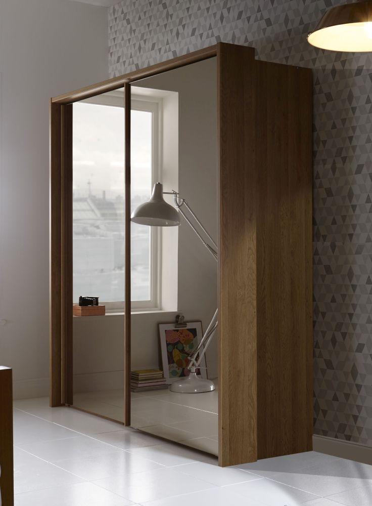 Wiemann Sydney 2 Door All Mirror Sliding Wardrobe in Oak - W 210cm