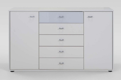 Wiemann Tokio 2 Door 5 Drawer Combination Dresser with Alpine White or Glass Top Drawer