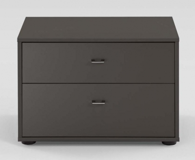 Wiemann Tokio 2 Drawer Bedside Cabinet in Havana with Chrome Handle