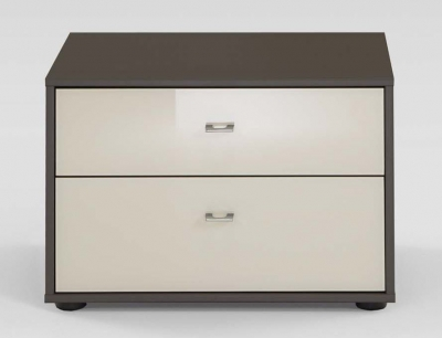 Wiemann Tokio 2 Drawer Bedside Cabinet in Magnolia Glass and Havana with Chrome Handle