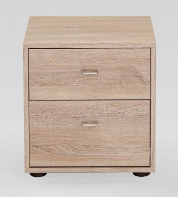 Wiemann Tokio 2 Drawer Bedside Cabinet in Rustic Oak with Chrome Handle