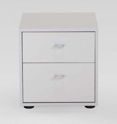 Wiemann Tokio 2 Drawer Bedside Cabinet in White with Chrome Handle