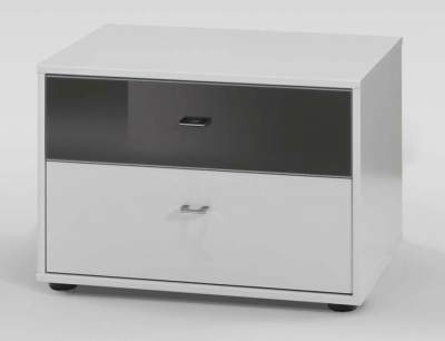 Wiemann Tokio 2 Drawer Black Glass Top Drawer Bedside Cabinet in White with Chrome Handle