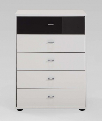 Wiemann Tokio 5 Drawer Black Glass Top Drawer Bedside Cabinet in Champagne with Chrome Handle