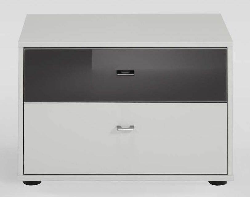 Wiemann Tokio 2 Drawer Bedside Cabinet with Alpine White or Glass Top Drawer