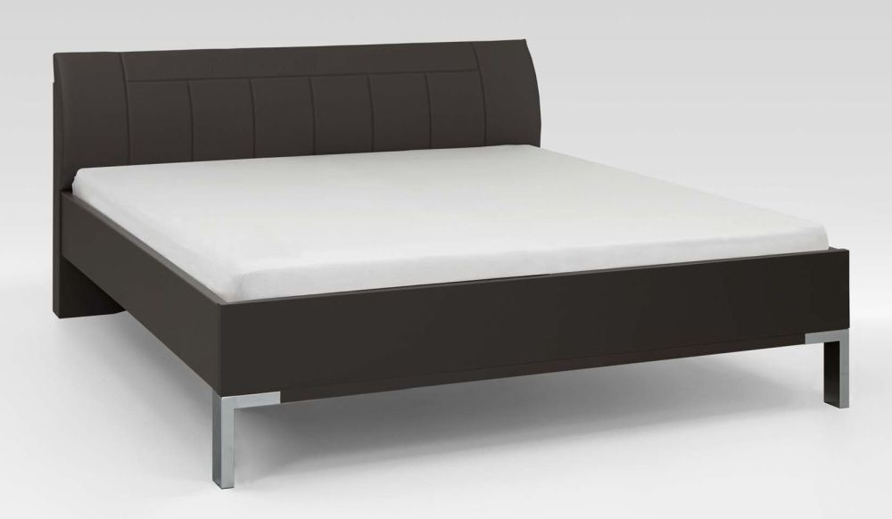 Wiemann Tokio 5ft King Size Leather Cushion Bed in Havana and Chrome Angled Feet - 160cm x 200cm