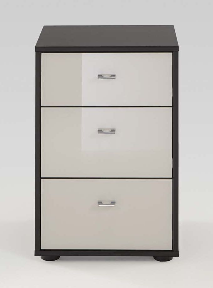 Wiemann Tokio 3 Drawer Bedside Cabinet in Magnolia Glass and Havana with Chrome Handle