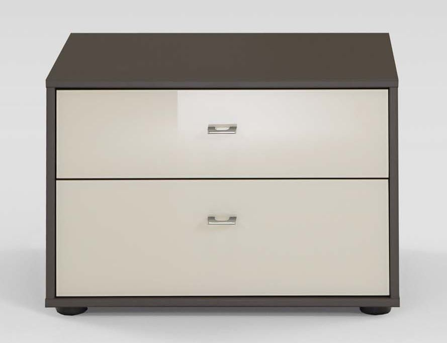 Wiemann Tokio 2 Drawer Bedside Cabinet in Magnolia Glass and Havana with Silver Handle