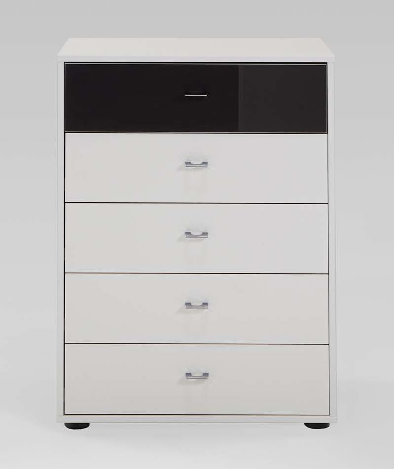 Wiemann Tokio 5 Drawer Black Glass Top Drawer Bedside Cabinet in White with Chrome Handle