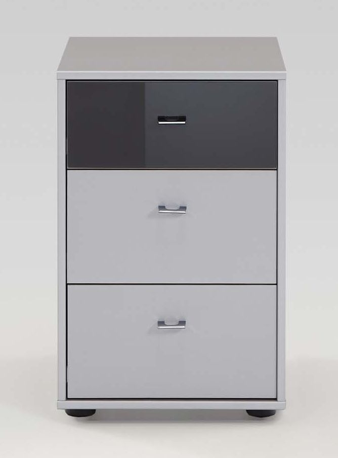 Wiemann Tokio 3 Drawer Havana Glass Top Drawer Bedside Cabinet in White with Chrome Handle