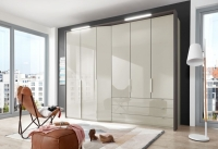 Wiemann VIP Cayenne 5 Door 3 Drawer Combi Wardrobe with Extended Depth in Champagne - W 233cm