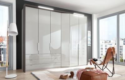 Wiemann VIP Cayenne 5 Door 3 Drawer Combi Wardrobe with Extended Depth in Pabble Grey - W 233cm