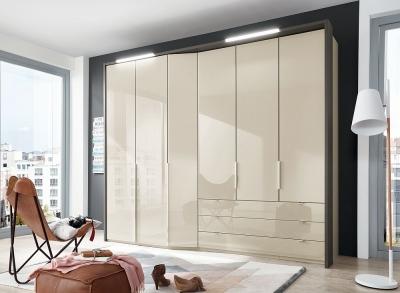 Wiemann VIP Cayenne 6 Door 3 Drawer Wardrobe in Champagne Glass - W 283cm