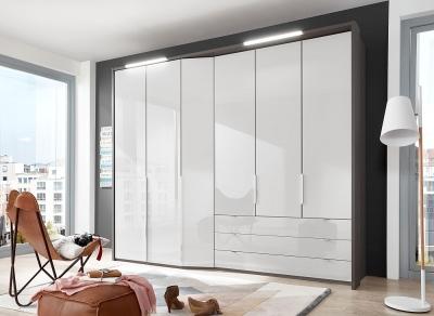Wiemann VIP Cayenne 6 Door 3 Drawer Wardrobe in Havana and White Glass - W 283cm