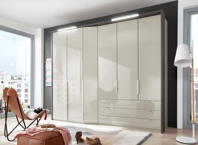 Wiemann VIP Cayenne 6 Door 3 Drawer Wardrobe in Pebble Grey Glass - W 283cm