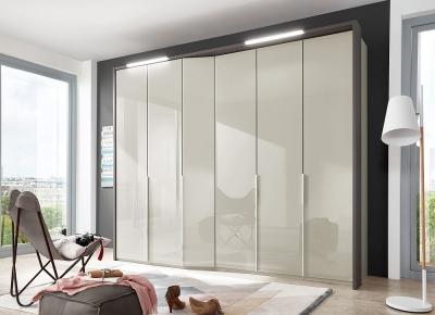 Wiemann VIP Cayenne 6 Door Wardrobe in Pebble Grey Glass - W 283cm