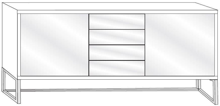 Wiemann VIP Cayenne 2 Door 4 Drawer Combi Chest in Glass Front and Chrome Angled Feet