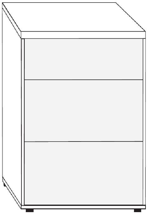 Wiemann VIP Cayenne 3 Drawer Bedside Cabinet in Black Sliding Feet - W 40cm x H 48cm