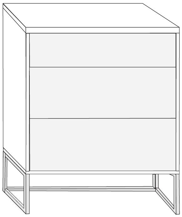 Product photograph showing Wiemann Vip Cayenne 3 Drawer Bedside Cabinet In Glass Front And Chrome Angled Feet - W 60cm X H 67cm