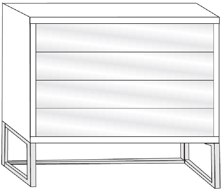 Wiemann VIP Cayenne 4 Drawer Chest in Glass Front and Chrome Angled Feet - W 40cm