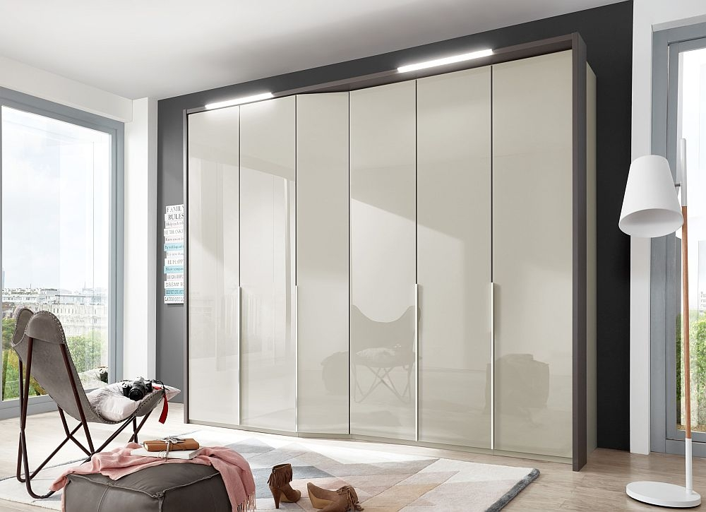 Wiemann VIP Cayenne 6 Door Wardrobe in Pebble Grey Glass - W 283cm