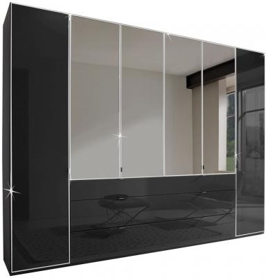 Wiemann VIP Eastside 4 Door 3 Drawer 2 Mirror Wardrobe in Black - W 200cm