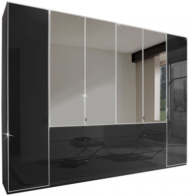 Wiemann VIP Eastside 6 Door 3 Drawer 4 Mirror Wardrobe in Black - W 300cm