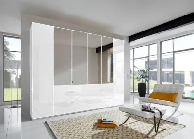 Wiemann VIP Eastside 6 Door 3 Drawer 4 Mirror Wardrobe in White - W 300cm