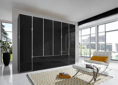 Wiemann VIP Eastside 6 Door 3 Drawer Wardrobe in Black - W 300cm