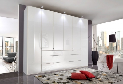 Wiemann VIP Eastside 6 Door 3 Drawer Wardrobe in White - W 300cm