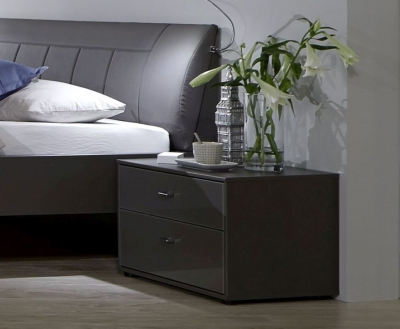 Wiemann VIP Eastside 2 Drawer Bedside Cabinet in Havana - W 40cm