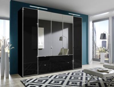 Wiemann VIP Eastside 4 Door Combi Wardrobe in Black Glass - W 250cm