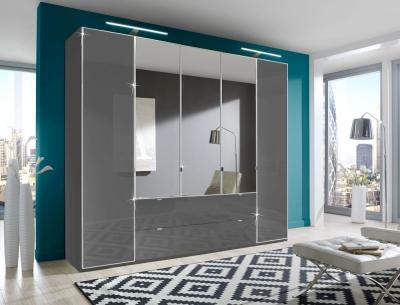 Wiemann VIP Eastside 4 Door Combi Wardrobe in Havana Glass - W 250cm