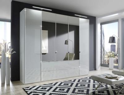 Wiemann VIP Eastside 4 Door Combi Wardrobe in White Glass - W 250cm