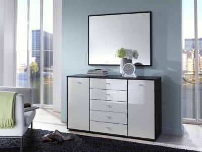 Wiemann VIP Eastside 5 Drawer Wide Chest in Black and White Glass