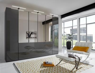 Wiemann VIP Eastside 6 Door Combi Wardrobe in Black Glass - W 300cm
